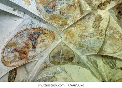 PIVON, CZECH REPUBLIC, JULY 18, 2017: Ruins of Augustinian Monastery from 13th century - old ceiling paintings
