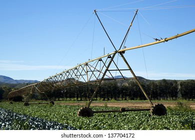 A pivot irrigation system on a farm in South Africa
