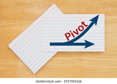 Pivot message with arrows on white paper index cards on wood desk