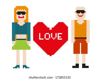 Pixel art of 2 isolated 8-bit people with heart
