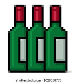 Pixel art green wine bottles