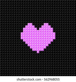 Pixel Art heart on black pixel background. Symbol of love. Greeting card for Valentine Day. Flat design