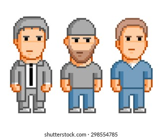 Pixel people for 8 bit video game.