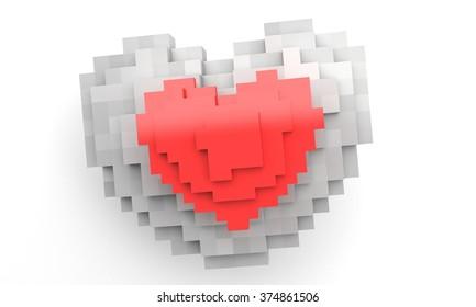 Pixel two heart 3d render illustration