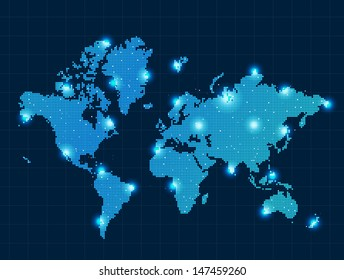 Pixel world map with spot lights sample