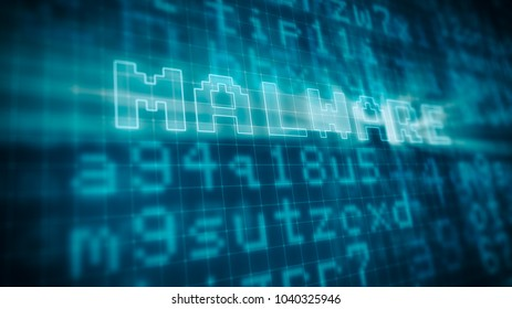 pixelated blue computer monitor with random text and the word: malware highlighted, concept of virus and computer security risks (3d render)