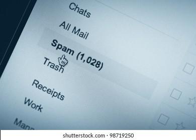 Pixelated E-mail Spam Screenshot, copy space
