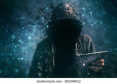 Pixelated unrecognizable faceless hooded cyber criminal man using digital tablet in deep web cyberspace, ransomware concept