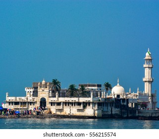 'Piya Haji Ali'- A closeup shot of the main structure/building of the iconic Haji Ali Dargah (tomb), located in Mumbai city in Maharashtra(India). This is a landmark Islamic/Muslim site.