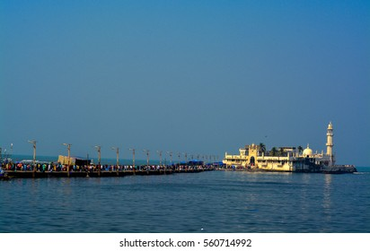'Piya Haji Ali'-Seen here are the main structure/building & the entrance to the iconic Haji Ali Dargah (tomb), located in Mumbai city in Maharashtra(India). This is a landmark Islamic/Muslim site.