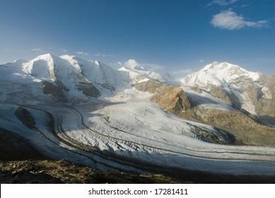 Piz Palü, Bellavista and Piz Bernina mountain range with Gorvatsch glacier. View from Diavolezza, Engadin, Switzerland.