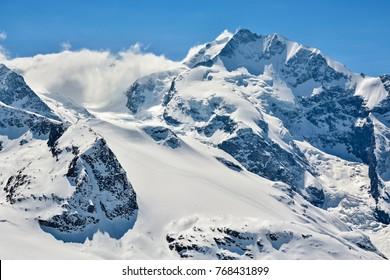 Piz Bernina in Switzerland is highest point in Bernina range