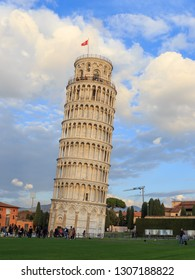 PIZA, ITALY - 18 Jan, 2019: View of Leaning tower , Piazza dei miracoli, Pisa, Italy . Pisa Leaning tower is one of the Seven Wonders building of the World