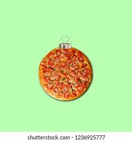 Pizza art collage. Concept pizza Christmas decoration.