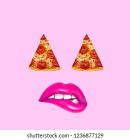 Pizza art collage. Concept pizza eyes with pink lips on pink background.