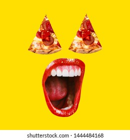 Pizza Art Collage. Concept of pizza mouth with red lips. A collage of paintings of modern art. The mad mouth shouts to the pizza lover. Fashionable yellow color.
