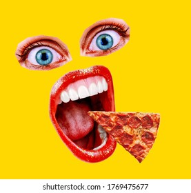 Pizza Art Collage. Eyes mouth pizza closeup. Collage of modern art paintings. Crazy mouth screaming for a pizza lover. Fashionable yellow color.