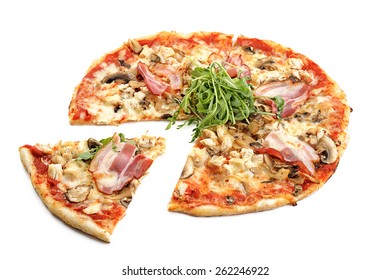 Pizza with bacon and arugula isolated on white background