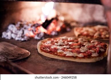 Pizza in baking