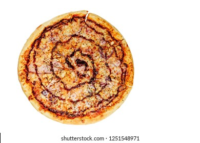 pizza barbecue sauce with chicken isolated top view