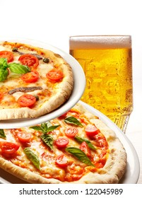 pizza and beer on white background