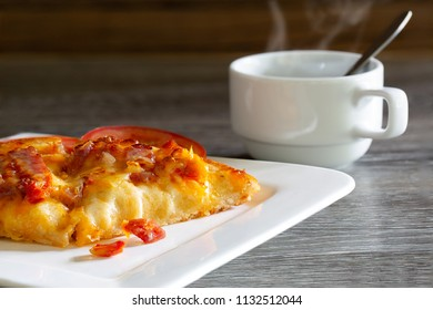 Pizza with Black coffee in Breakfast in white dish on the table / Select focus and space for texts