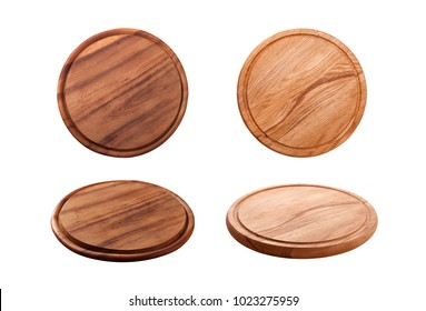 Pizza board isolated on white background. Top view mock up