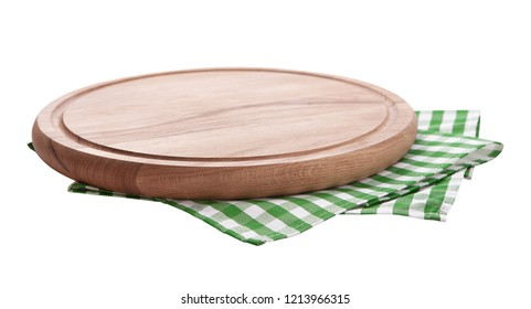 Pizza board with a napkin isolated on white. Top view mock up