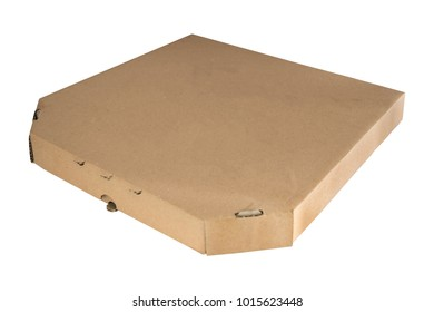 Pizza box brown isolated on white background. Template empty carboard. Closed container for food packaging.