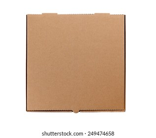 Pizza box, brown, top view.