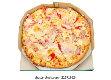 Pizza in box isolated.