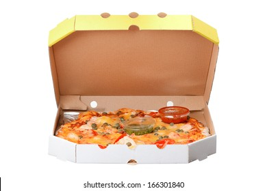 pizza in box isolated on white background