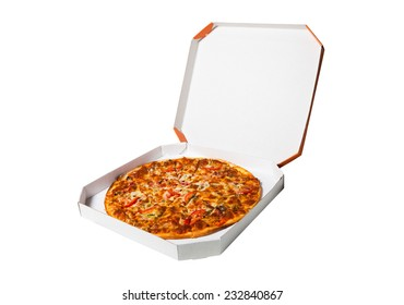 pizza in a box isolated on a white background