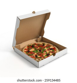 pizza in box isolated on white