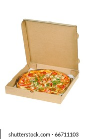 Pizza in a box. Isolated on white.