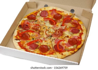 Pizza in box on a white background