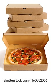 Pizza box open, pepperoni pizza inside, delivery boxes stacked in background