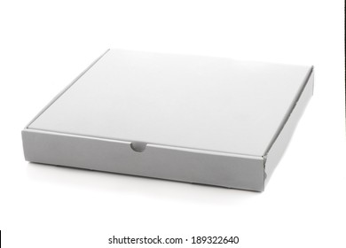 Pizza box paperboard isolated on white background.