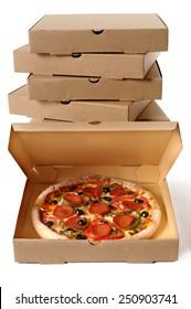 Pizza box, stack, pepperoni.