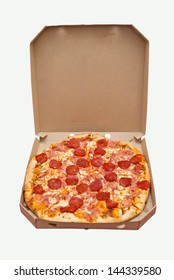 Pizza in a box. Tasty pizza with pepperoni sausage in cardboard box