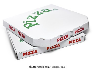 Pizza boxes, isolated on white.