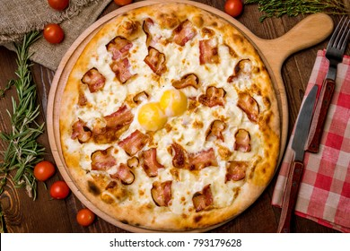 Pizza Carbonara with bacon cheese and egg