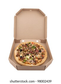 Pizza in a cardboard box with clipping path