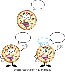 Pizza Cartoon Mascot Character 3. Raster Collection Set