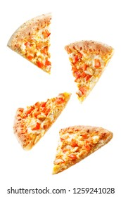 Pizza with cheese, chicken and fresh tomato slices isolated. toning. selective focus