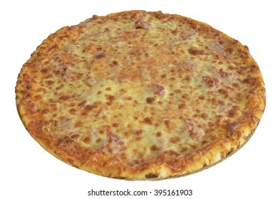 Pizza with cheese and ham isolated on white background.