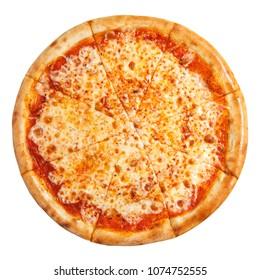 披薩與奶酪隔離在白色背景。 披薩瑪格麗塔頂視圖。