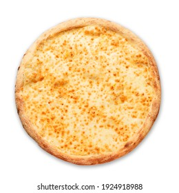 Pizza with cheese on a white background. Top view.Very high quality photo. High quality photo