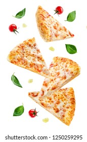 Pizza with cheese and tomato sauce isolated. toning. selective focus