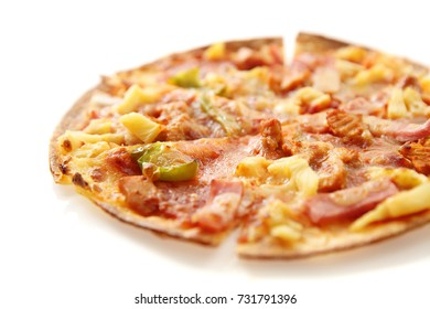 pizza , chicken green pepper pineapple isolated in white background